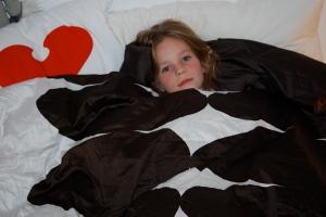kiki in her new IKEA bed